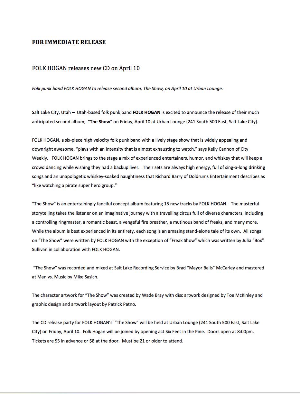 album press release sample